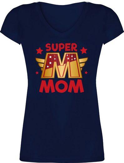 Shirtracer T-Shirt »Super Mom großes M - Muttertagsgeschenk - Damen T-Shirt mit V-Ausschnitt«