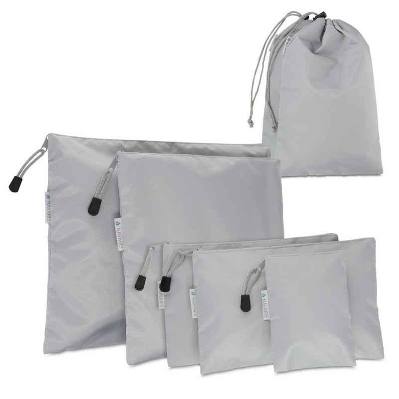 Navaris Kofferorganizer, 7-teiliges Koffer Packbeutel Set - Schuhbeutel Wäschebeutel Reise Packtaschen - Rucksack Organizer Beutel - Stausack Reisebeutel