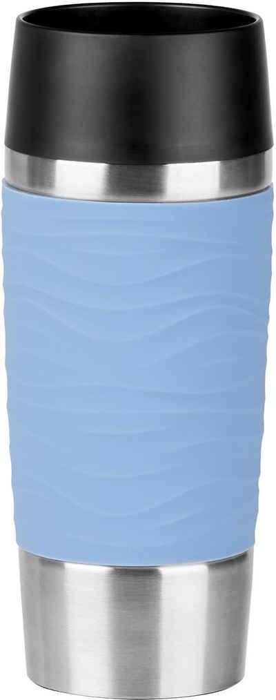 Emsa Thermobecher »Travel Mug Waves«, Edelstahl, Edelstahl, 360 ml Inhalt, 100% dicht, auslaufsicher, 360°-Rundum-Trinköffnung, spülmaschinenfest