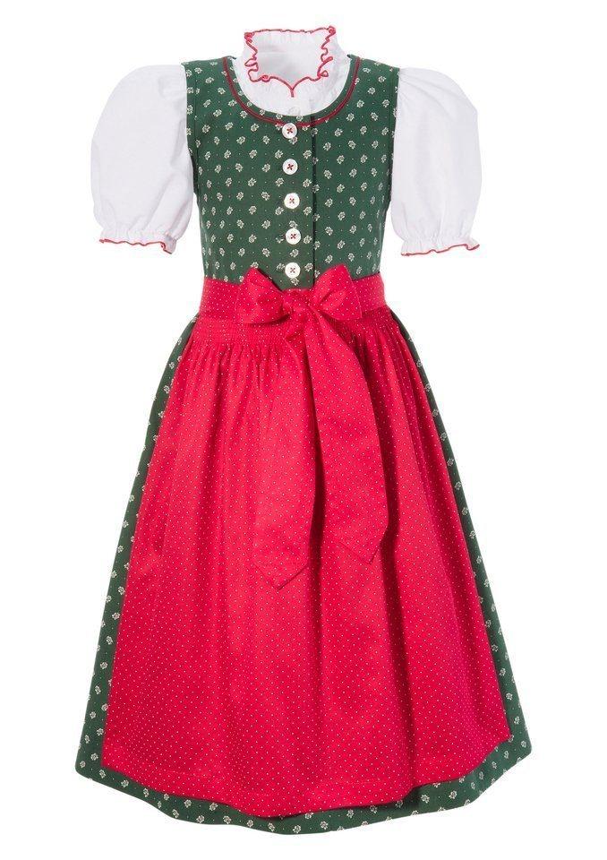 Damen,  Kinder Turi Landhaus Dirndl Kinder mit rundem Ausschnitt (3tlg.) blau, grün, rosa | 04012045883896