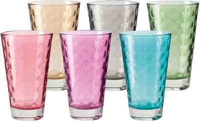 LEONARDO Glas »Optic«, Glas, Colori Qualität, 300 ml, 6-teilig