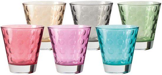 LEONARDO Glas »Optic«, Glas, Colori Qualität, 220 ml, 6-teilig
