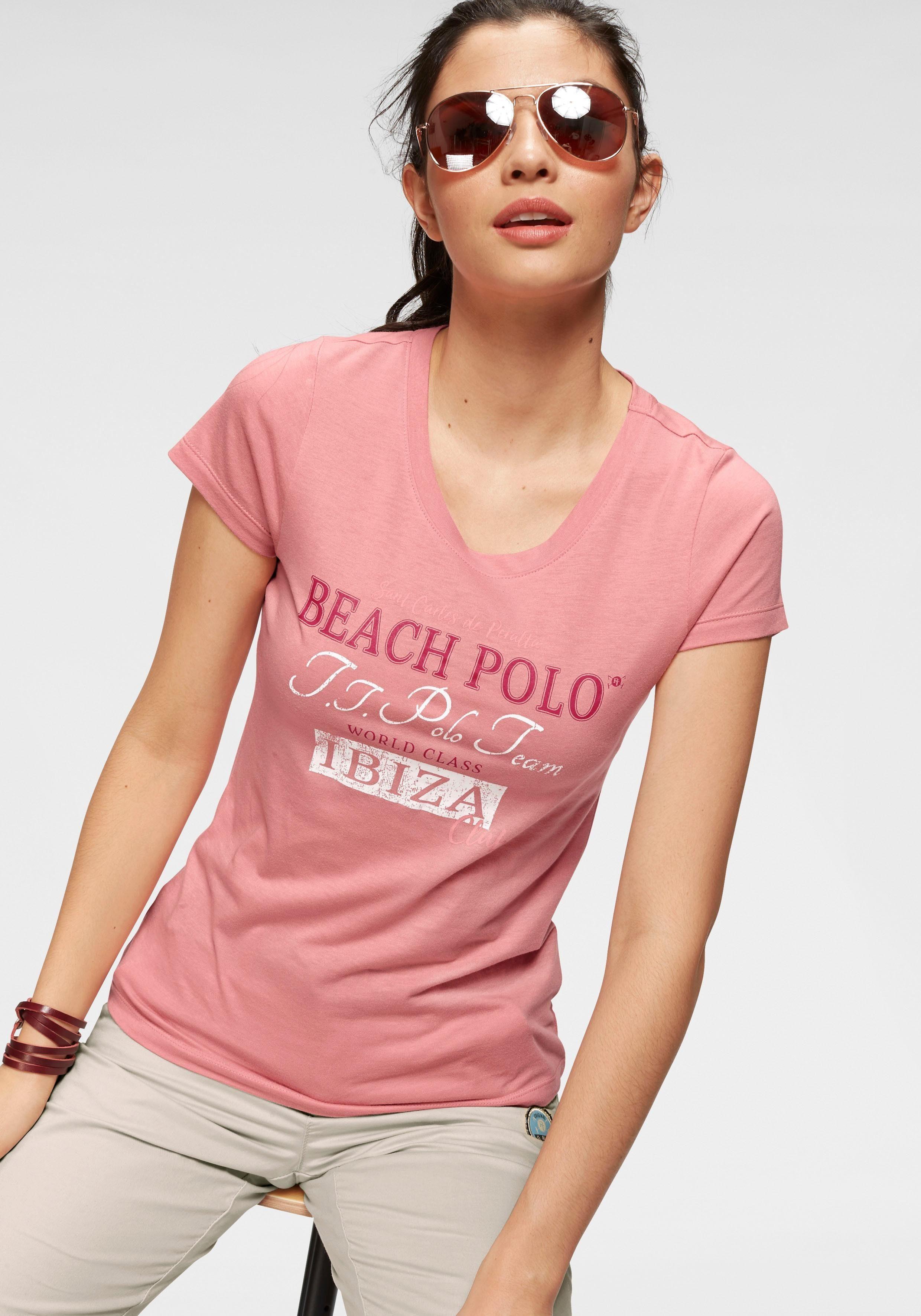 TOM TAILOR Polo Team T-Shirt mit großem Label-Print vorne