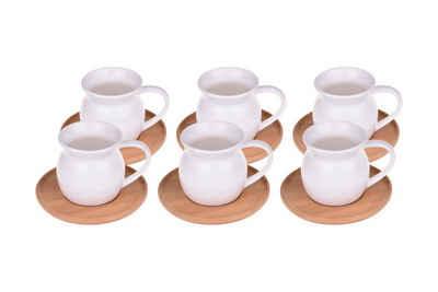 Bambum Espressotasse »Bambum Torby »Espressotassen-Set aus Porzellan und Bambus Untersetzer««, Porzellan, 12-teilig