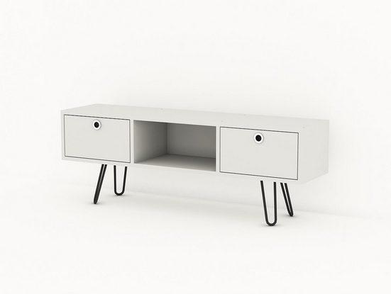 moebel17 TV-Regal »Wohnwand Moda mit Metallfüße Weiß«, Platzsparend mit 3 Fächern