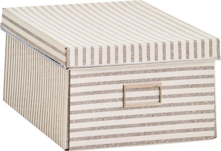 Zeller Aufbewahrungsbox »Stripes«, Pappe, beige
