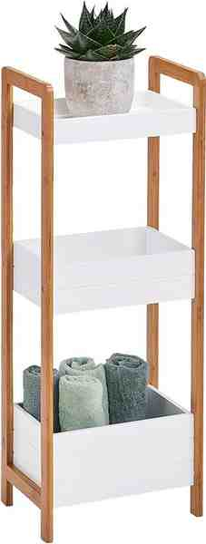 andas Standregal mit 3 Ablagefächern, Bamboo/MDF, weiß