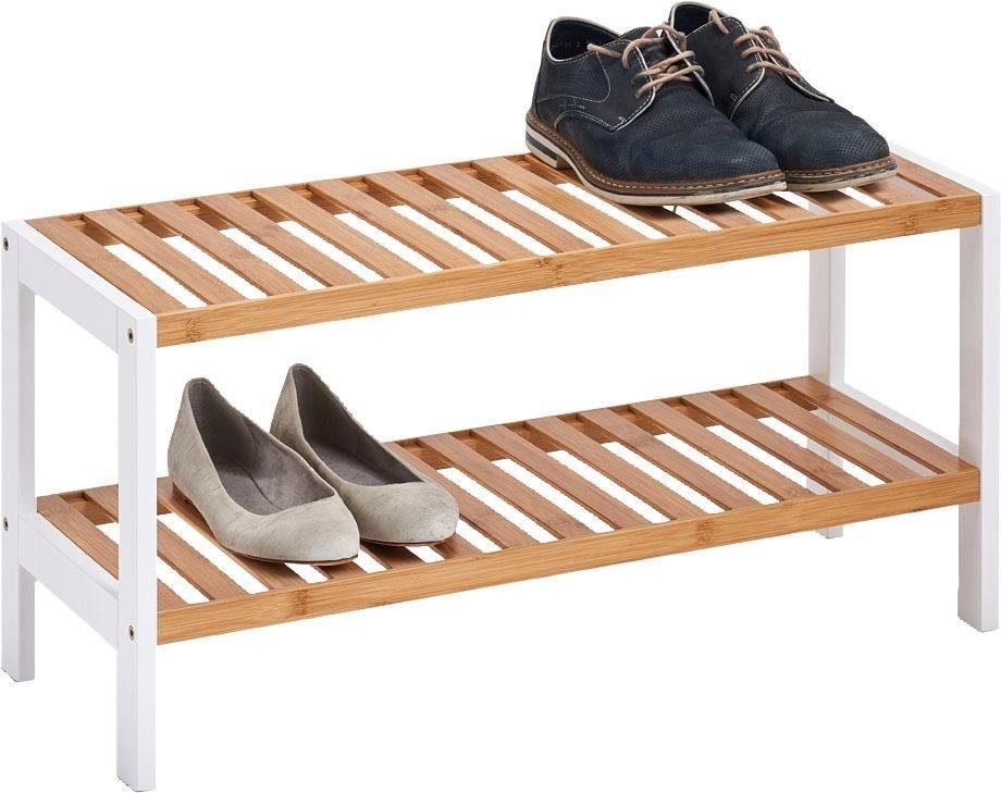 andas Schuhregal mit 2 Ablagen, Bamboo/MDF, weiß