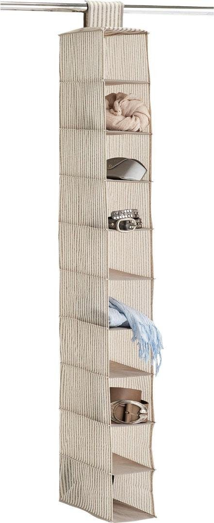 andas Hänge-Aufbewahrung »Stripes«, 10 Fächer, Vlies, beige