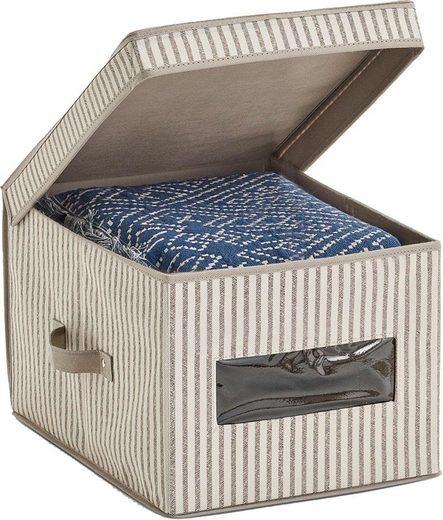 Zeller Aufbewahrungsbox m. Deckel »Stripes«, Vlies, beige
