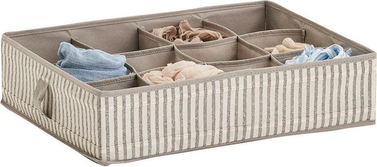 Zeller Aufbewahrungsbox »Stripes«, 12 Fächer, faltbar, Vlies, beige