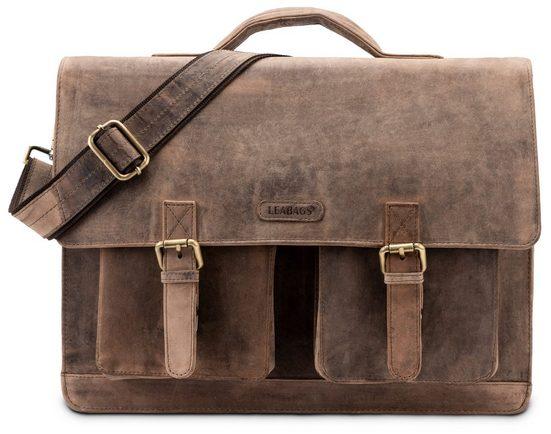 LEABAGS Aktentasche »Miami«, Aktentasche Laptoptasche 15 Zoll Schultertasche aus echtem Leder, (LxBxH): ca. 40 x 12 x 31 cm - Fallow