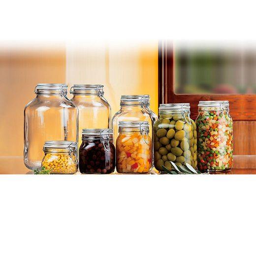 Bormioli Rocco Einmachglas »Drahtbügelglas Fido 500 ml quadratisch Dessertglas Vorspeisenglas Einkochglas«, Glas, (1-tlg)