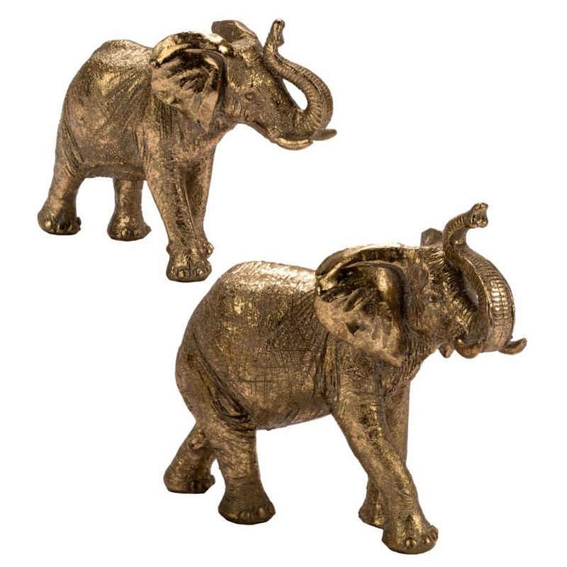 Cosy Home Ideas Tierfigur »Dekofiguren 2er Set Elefanten gold glitzernd Resin« (Set, 2-er Set), Figuren aus Resin, gold farbig