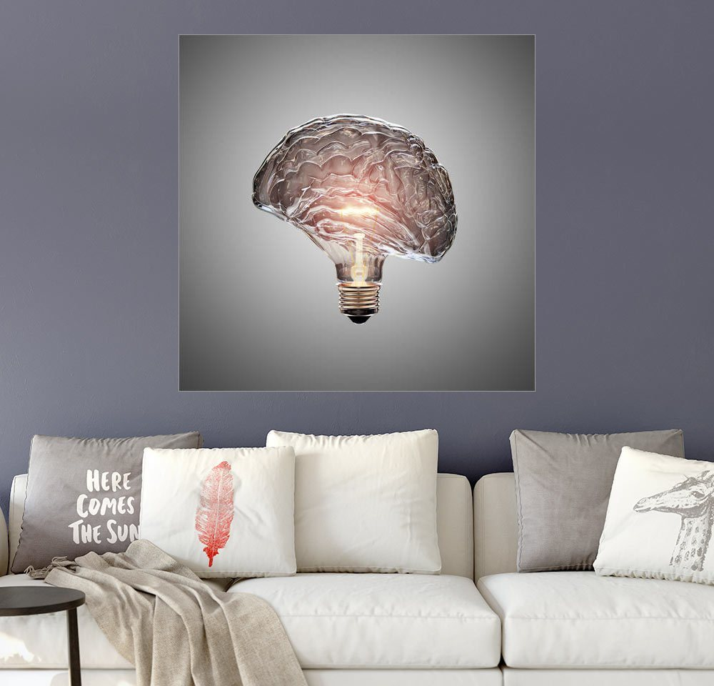 Posterlounge Wandbild – Johan Swanepoel Glühbirne Gehirn grau | 04053831557553