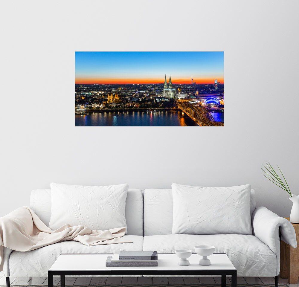 Posterlounge Wandbild Bunte Köln-Skyline am Abend bunt,mehrfarbig | 04053831567934