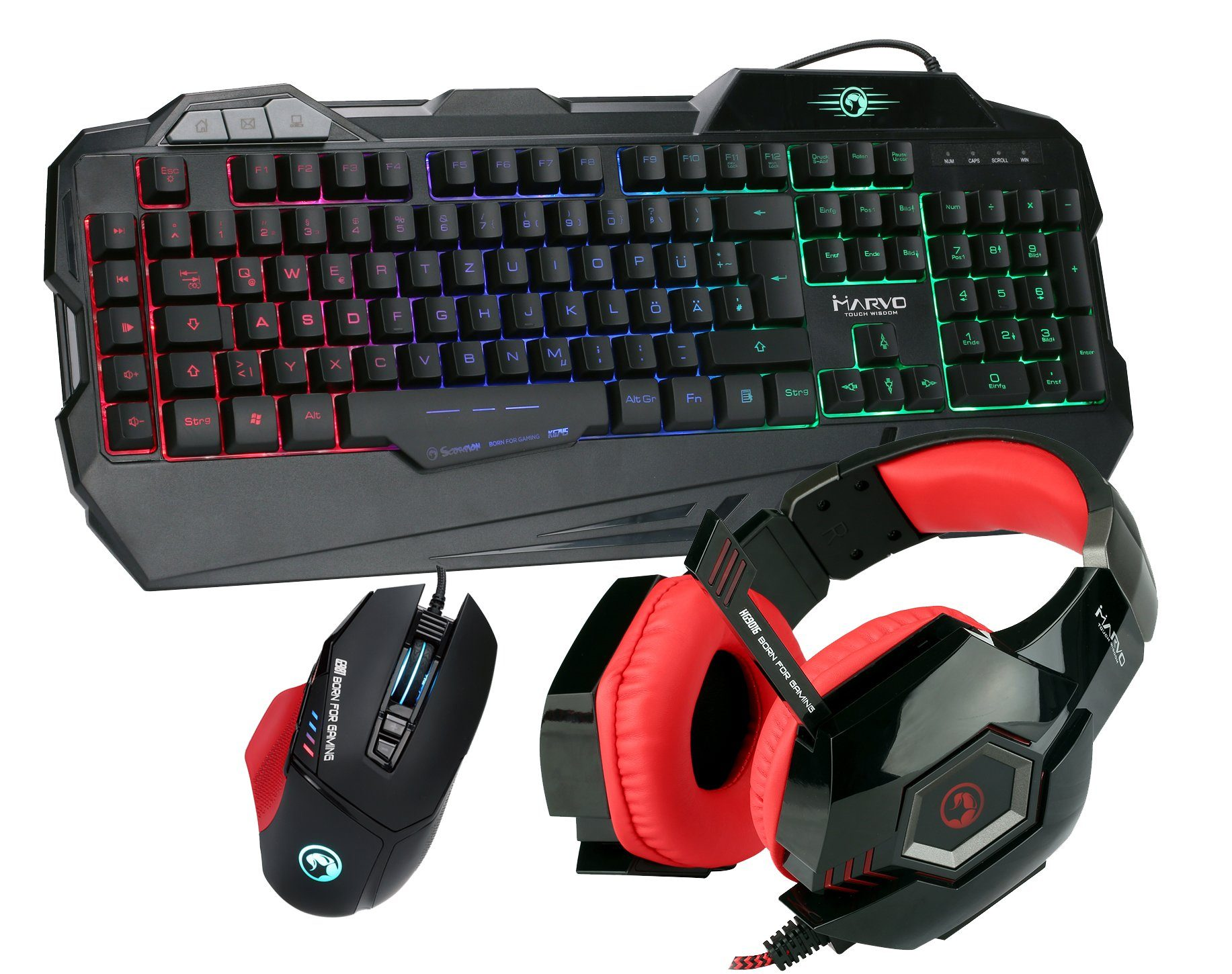 MARVO Gaming Spar Set, RGB Maus, Tastatur, Headset »KG745, G981, HG9016 RD«