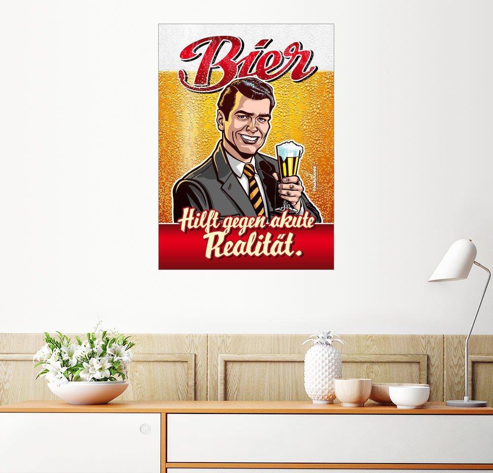 Posterlounge Wandbild – Pit Hammann Retro Bierwerbung Parodie Hilft gegen akute bunt,mehrfarbig | 04053831434304