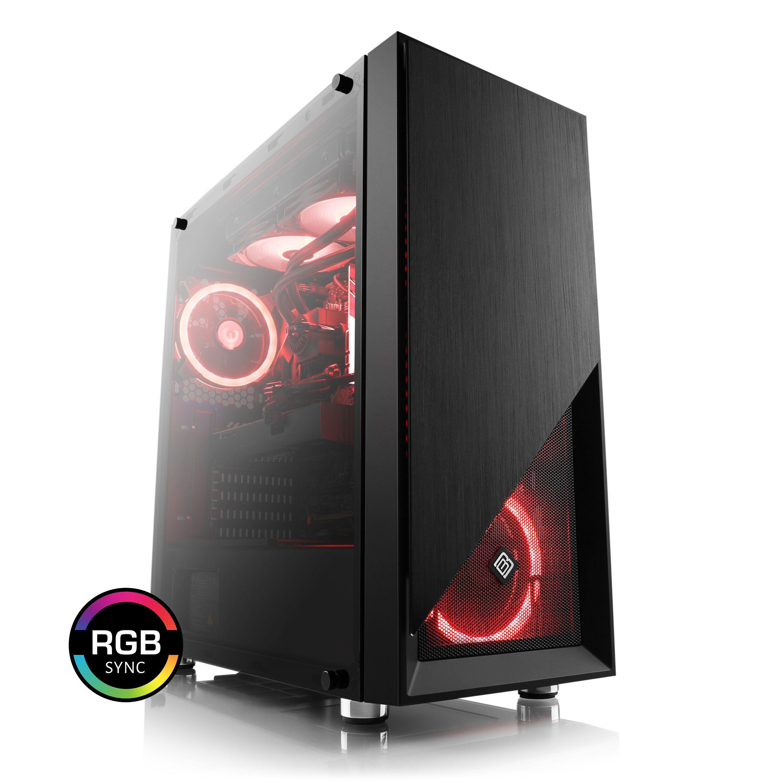 BoostBoxx Gehäuse Sichtfenster, schwarz, RGB Beleuchtung mit 4 RGB Lüftern »BoostBoxx Mask«