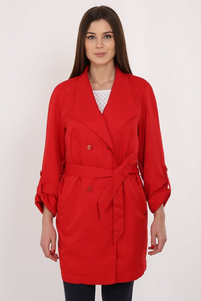 Finn Flare Trenchcoat mit zweireihiger Knopfleiste | Bekleidung > Mäntel > Trenchcoats | Rot | Polyester - Jeans | Finn Flare