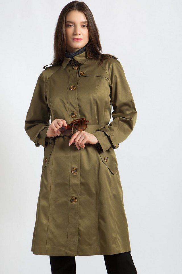 Damen Finn Flare Trenchcoat mit praktischem Bindegürtel grün | 06438157258649