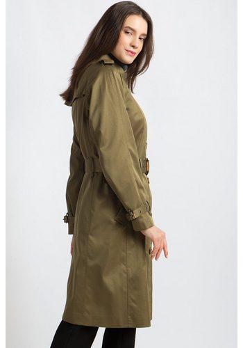 - Damen Finn Flare Trenchcoat mit praktischem Bindegürtel grün | 06438157258649
