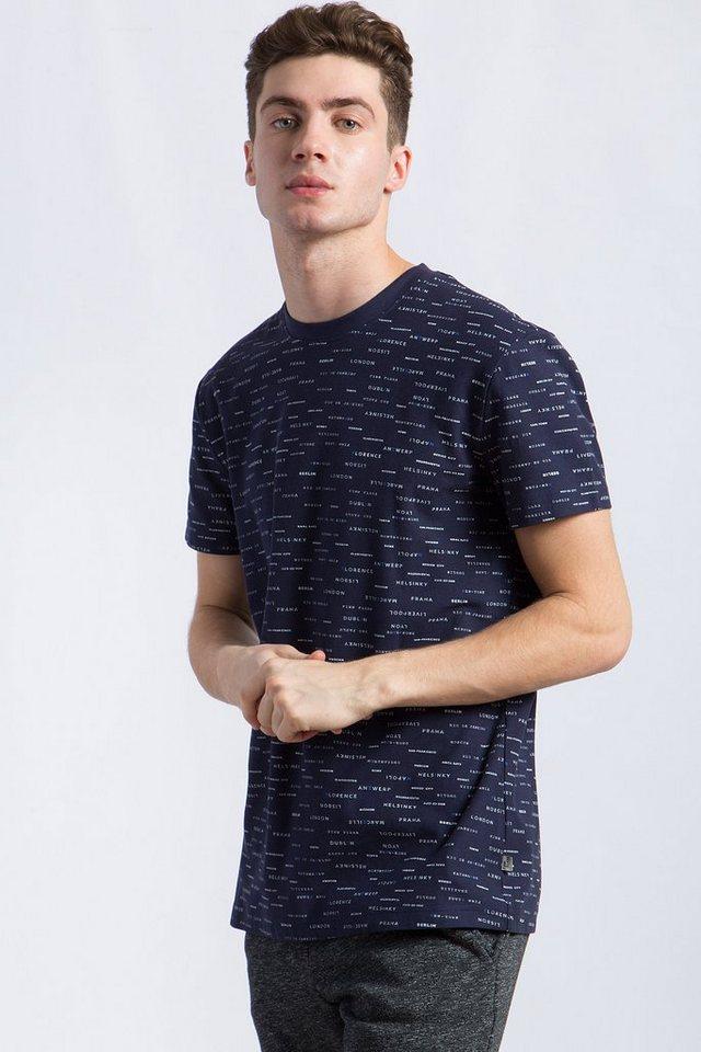 Herren Finn Flare T-Shirt mit dezentem Print blau | 06438157216007