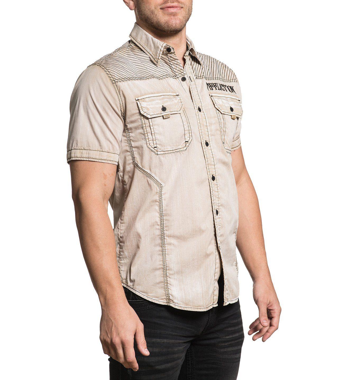 Affliction Kurzarmhemd mit großem Markenlogo