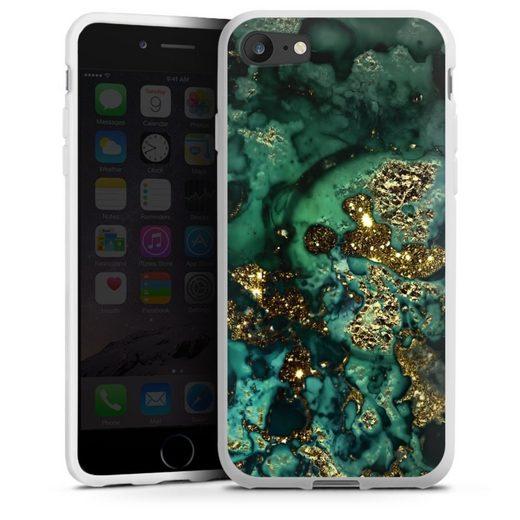 DeinDesign Handyhülle »Cyan Glitter marble look« Apple iPhone 8, Hülle Marmor Glitzer Look Muster