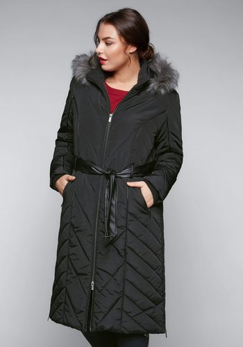 Damen sheego Style Steppmantel schwarz | 04061303090330