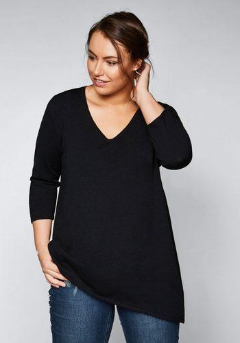 Damen sheego Style V-Ausschnitt-Pullover schwarz | 04061303093232