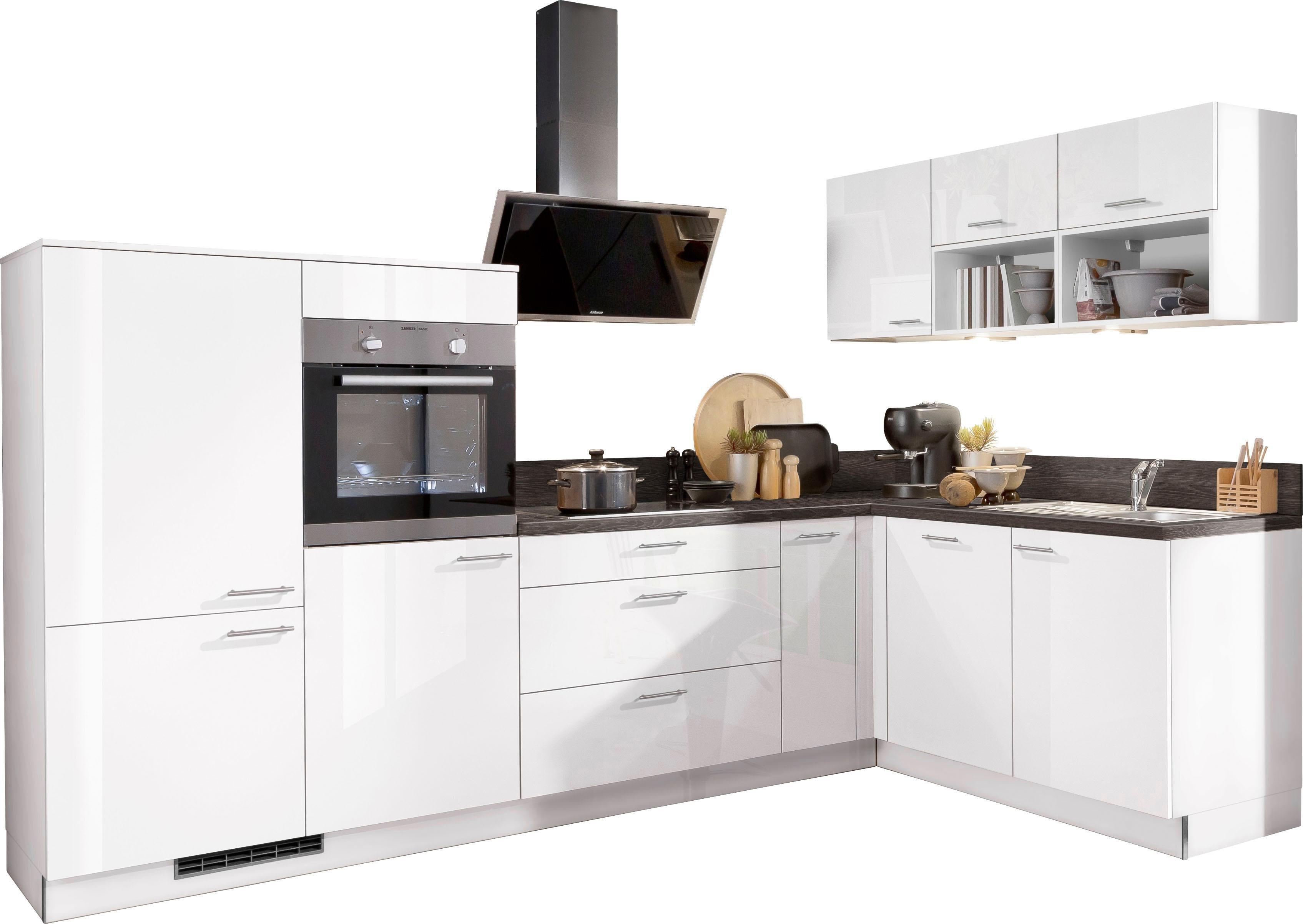 Express Küchen Winkelküche »Scafa« mit E-Geräten, Stellbreite 305 x 185 cm | Küche und Esszimmer > Küchen > Winkelküchen | Graublau - Weiß | Edelstahl | Express Küchen