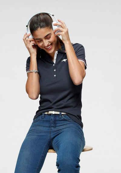 KangaROOS Poloshirt mit kontrastfarbenem, gestreiftem Kragen und Ärmelbündchen