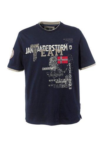 Herren Jan Vanderstorm T-Shirt SÖLVE in Doppellagen-Optik blau | 04056916312276