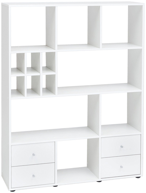Raumteiler-Regal , Breite 104 cm, mit 4 Schubladen und 13 Fächern