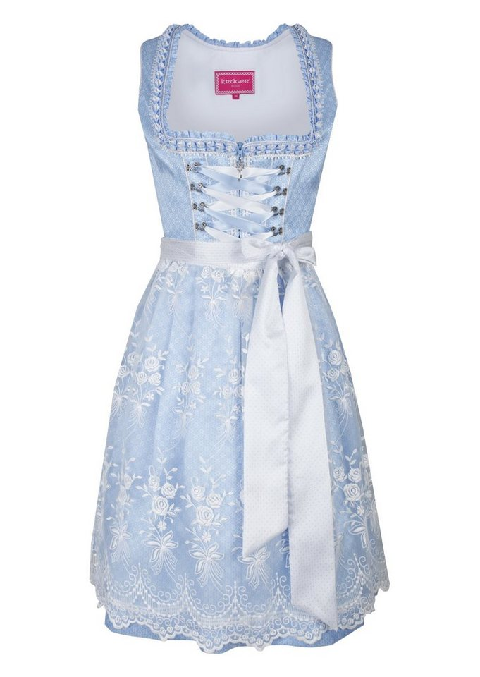 Damen KRÜGER Madl Dirndl midi mit hochwertiger Spitzenschürze blau | 04055446291556