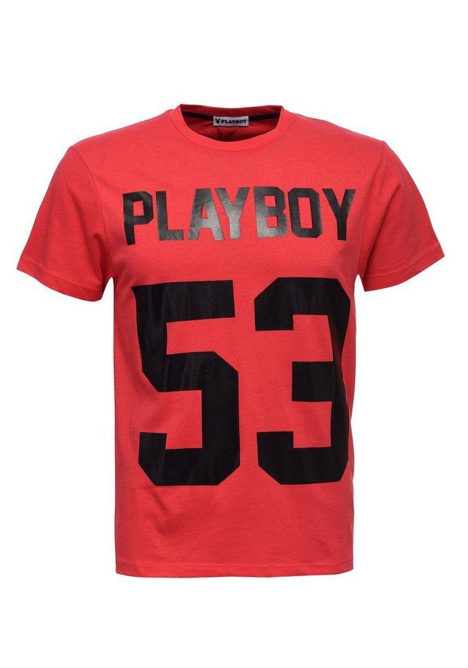 Playboy T-Shirt mit angesagtem Frontdruck   Bekleidung > Shirts > T-Shirts   Rot   Baumwolle   PLAYBOY