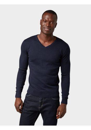 Herren Tom Tailor Strickpullover Basic-Pullover mit V-Ausschnitt blau | 04062105175812