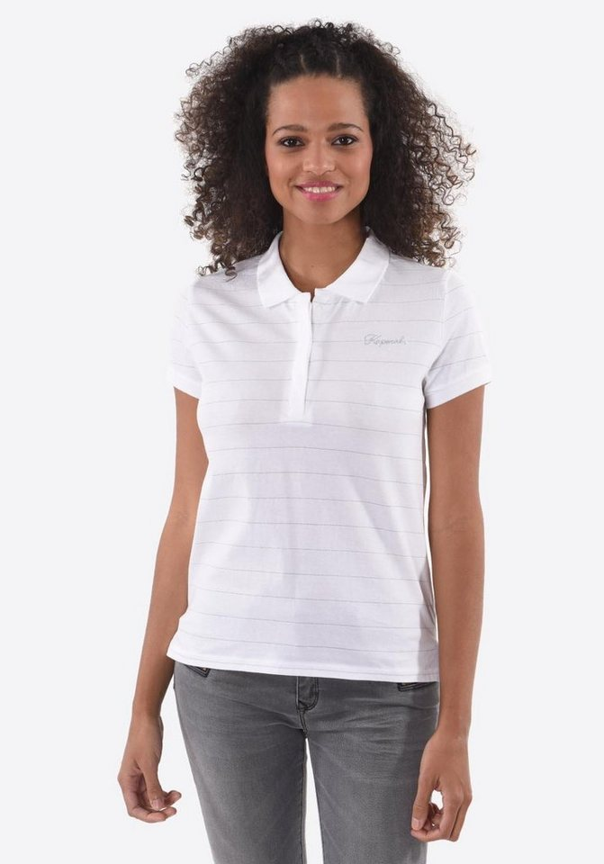 Damen Kaporal Poloshirt mit Streifendesign weiß | 03606744982465