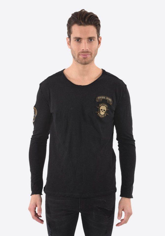 Herren Kaporal  Langarmshirt mit Totenkopf-Patch schwarz | 03606745006207