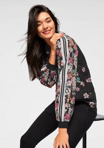AJC Shirtbluse mit floralem Druck und Streifen am Ärmel