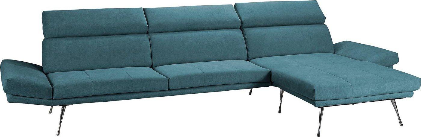 Places of Style Ecksofa »Campos«, mit eleganten Füßen aus Metall   Wohnzimmer > Sofas & Couches > Ecksofas & Eckcouches   Blau   Places of Style
