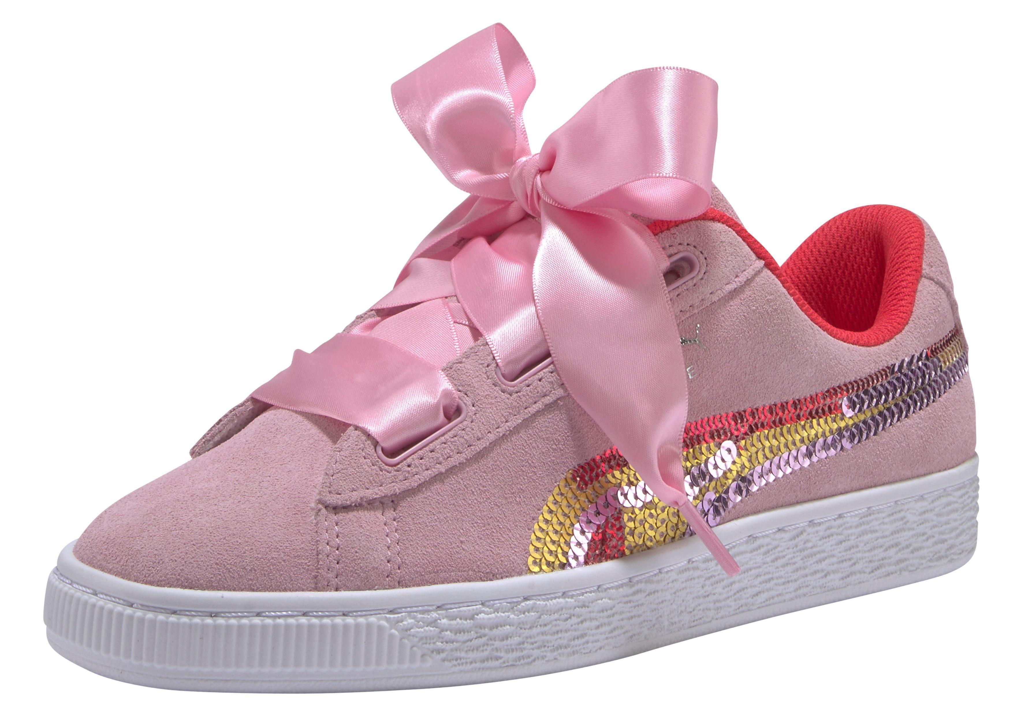 Rosa Puma Sneaker mit Herzchen, große Schleife