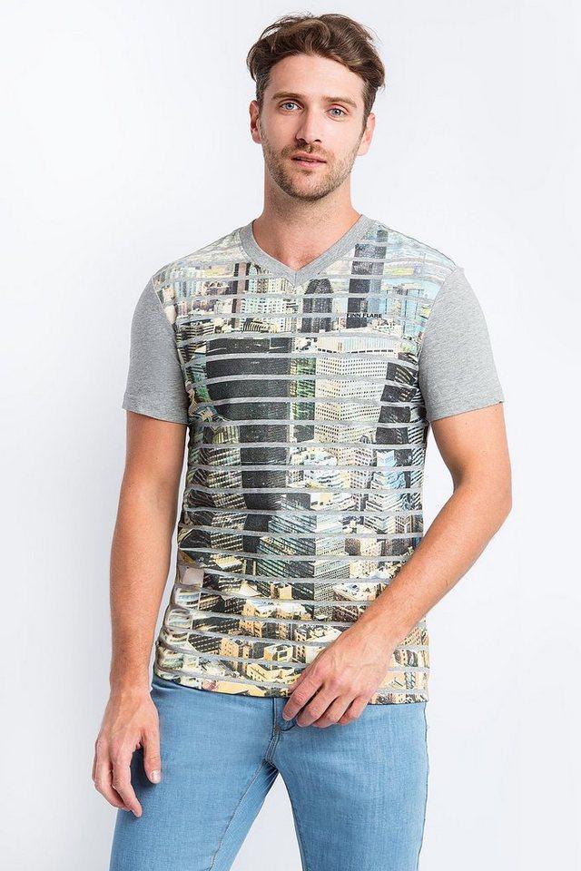 Herren Finn Flare T-Shirt mit coolem Front-Druck grau | 06438157289711