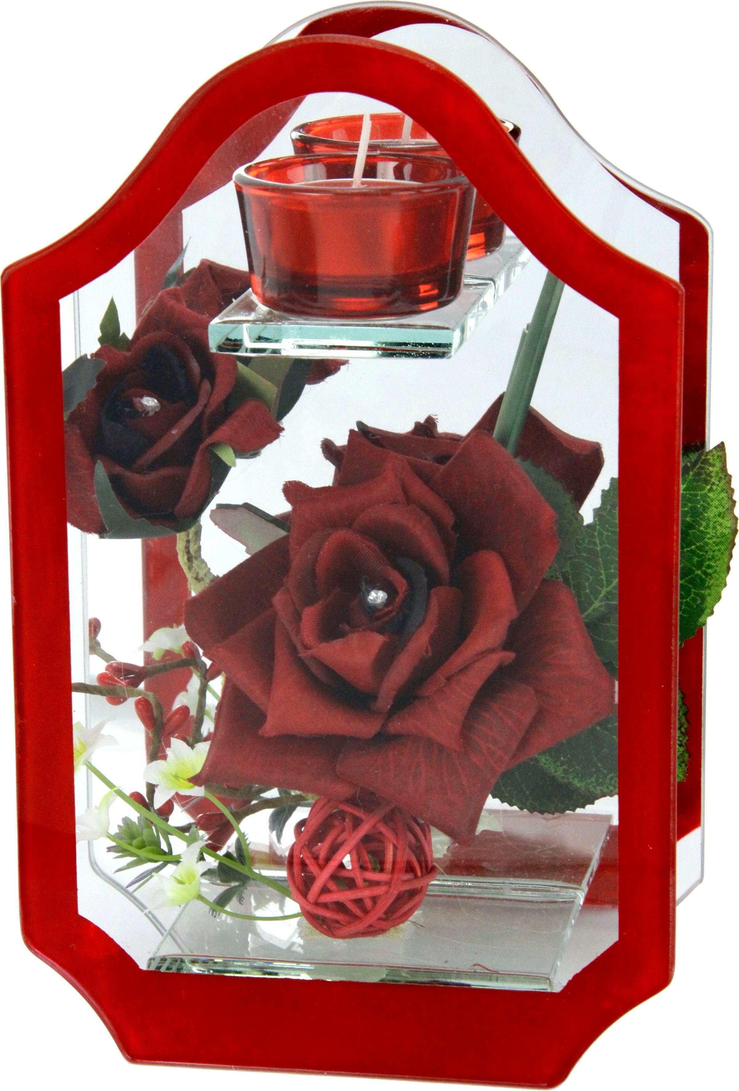 Kunstblume »Rose im Glas mit Teelicht«