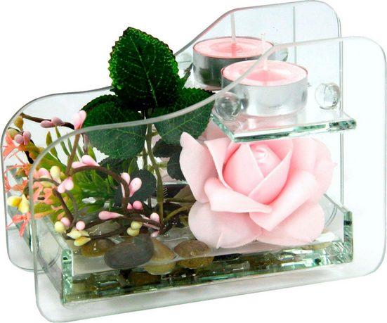 Kunstpflanze »Rose im Glas mit Teelicht« Rose, I.GE.A., Höhe 11 cm
