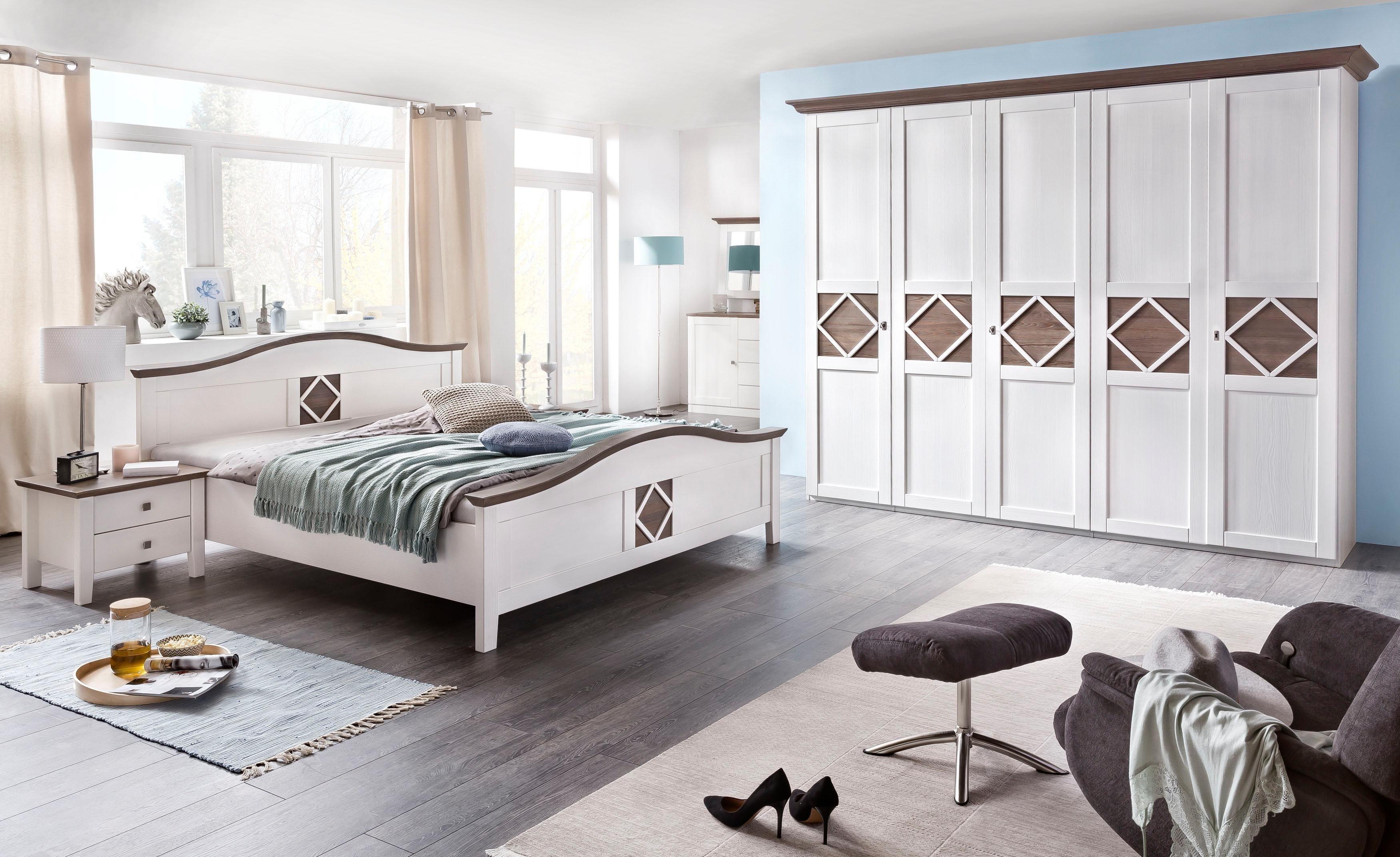 4-teiliges Schlafzimmer-Set «Mistral», 5-trg Schrank, Bett 180/200 cm, 2 Nachttische