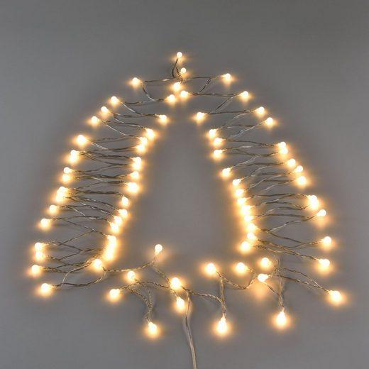 in.tec LED-Lichterkette, 80-flammig, 80 LED 11m Kugelkette Beleuchtung Weihnachten warmweiß