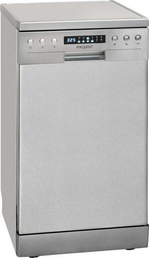 exquisit Standgeschirrspüler, GSP 9510.1 Inox, 8 l, 10 Maßgedecke, 45 cm breit