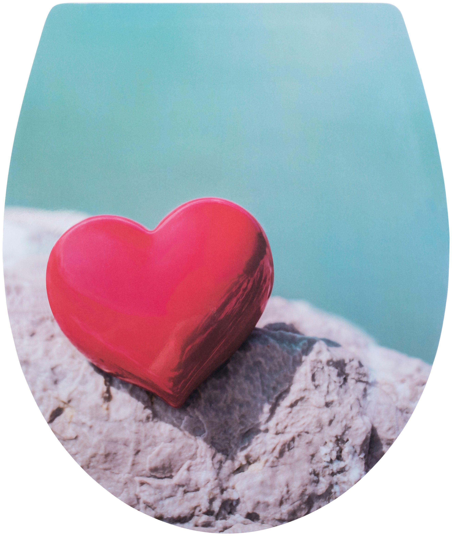 CORNAT WC-Sitz »Rotes Herz«, Relief-Motiv
